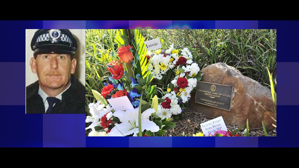 The late Senior Constable Jim Affleck, killed in 2001, and his memorial