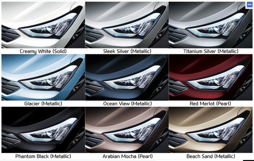 Most manufacturers charge a premium - $500 or more (in the case of German cars, often a lot more) - for premium paint. Generally this means metallic paint. Colour palettes are often like the one above: white (top left) is the only non-premium colour. Every other colour costs you more...