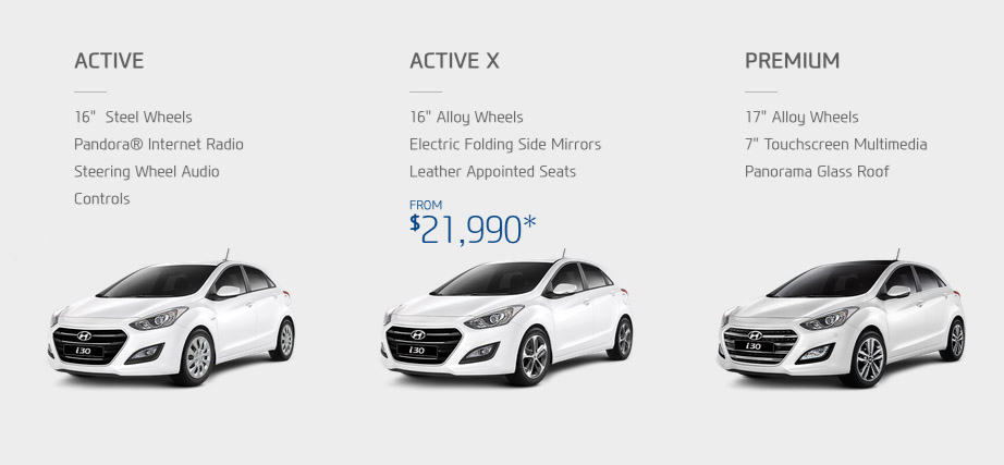 Basic i30 range - Active, Active X and Premium