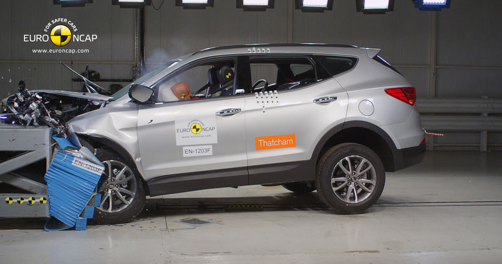 "Left-drive Hyundai Santa Fe was tested by Euro NCAP and rated very well back in 2012. ANCAP says: ""The diesel left-hand-drive European model was tested by Euro NCAP. ANCAP was provided with technical information which showed that the results apply to 4 cylinder Australasian variants with all-wheel- drive."" However, there's no word on whether that ""technical information"" included a robust structural integrity assessment of the right-hand footwell - or whether this is even possible."