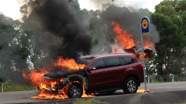 This Ford Everest caught fire with a motoring journalist at the wheel