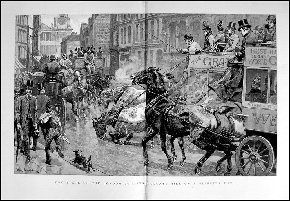 New York, 1894: 100,000 horses x 15kg of shit each day = 550,000 tonnes of horseshit annually, just for transportation. Plus 37 million litres of horse piss. London: About half that total.
