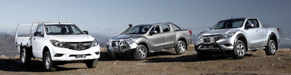 Mazda BT-50 range (left to right): Single cab, dual cab and Freestyle cab