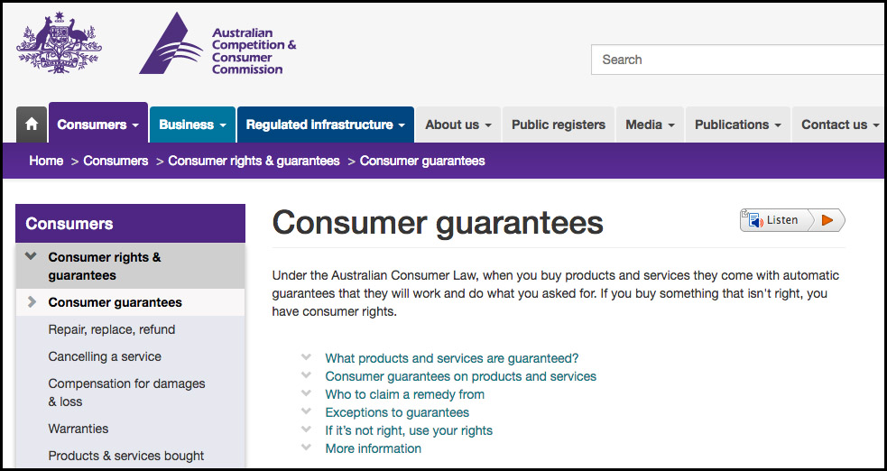 Click this image to learn more about Australian Consumer Law from the ACCC