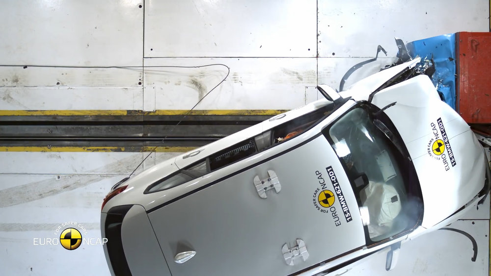 64km/h offset frontal crash test concentrates the impact on just 40 per cent of the width of the car - on the driver's side (LHD car pictured)