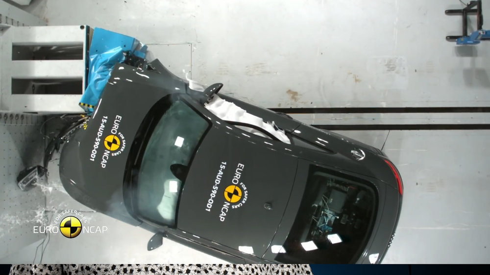 The offset frontal crash test also introduces a severe rotation as a consequence of the asymmetrical hit