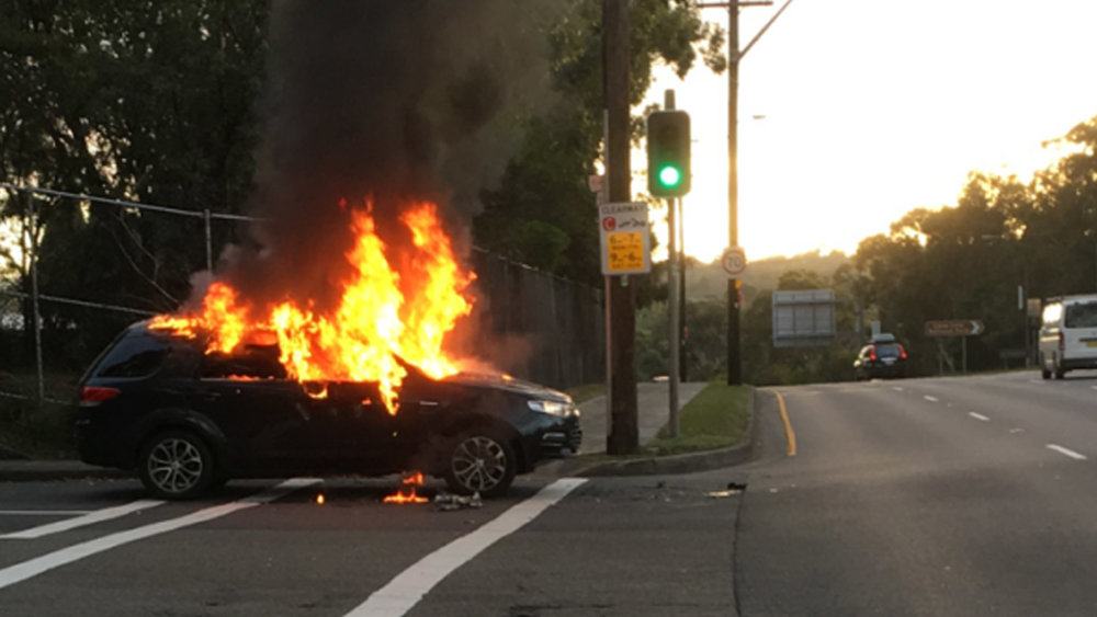 This senior TV news executive's Ford Territory simply caught fire spontaneously and burned to the ground at an intersection in Sydney. According to him, it was all over in 10 seconds and if the kids had been in the car, they could easily have died (details below)