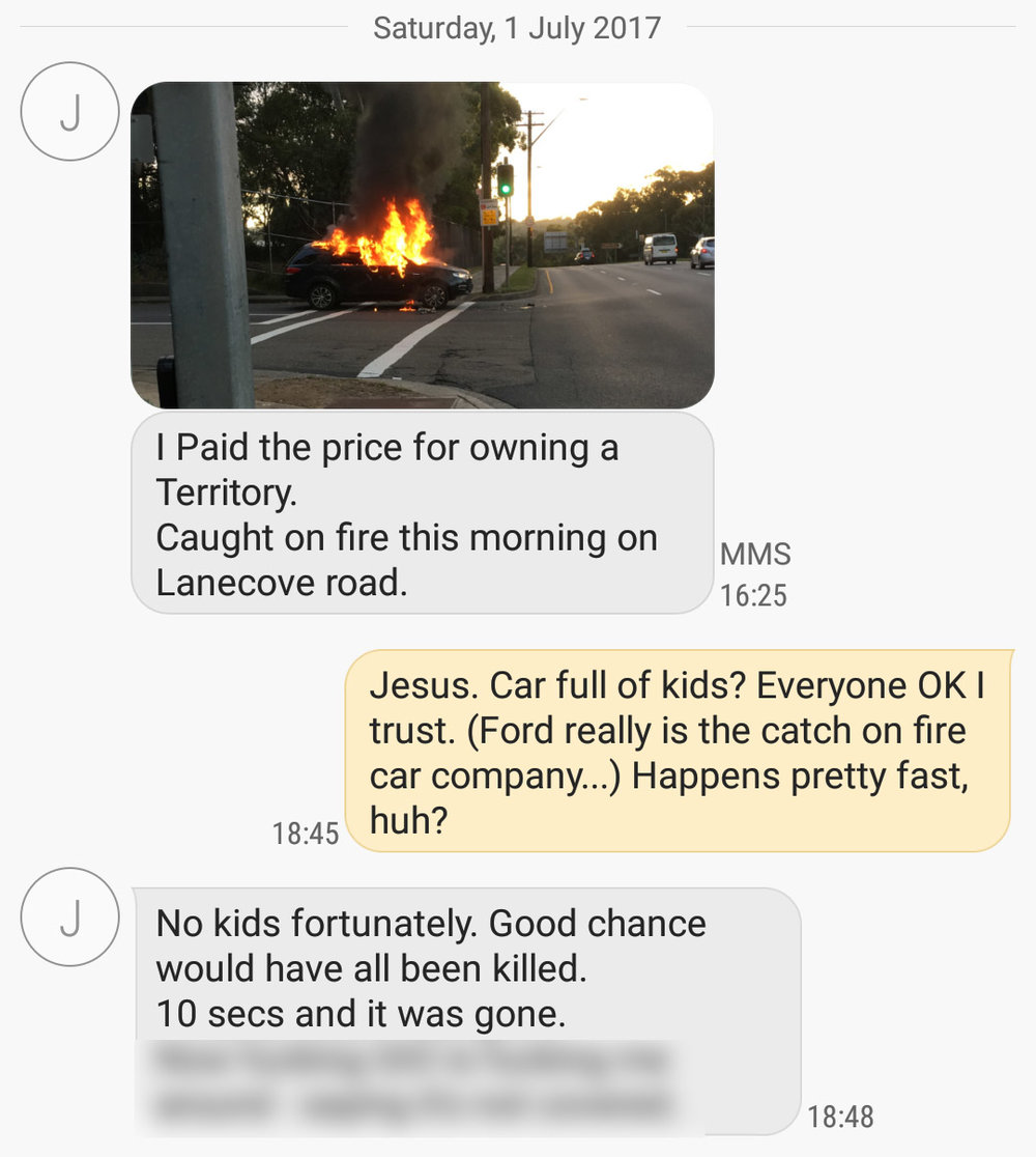 Screen shot of the actual SMS