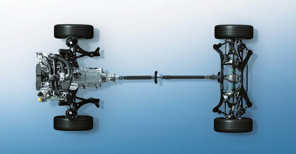 Subaru AWD does require the installation of additional drivetrain components - and this provides additional traction in slippery conditions but it also adds considerable mass