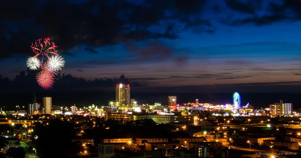 Fireworks over the Chatan Skyline - Okinawa, Japan. - Fuji X-Pro1, 18mm f2.0