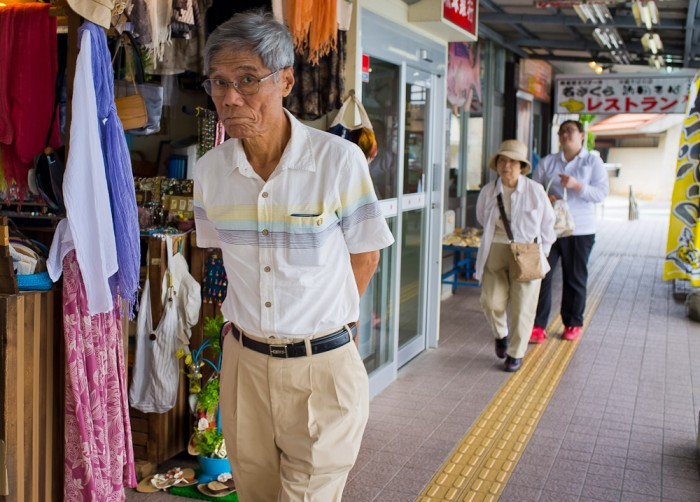 Man shopping at Kyoda rest stop in Okinawa.
