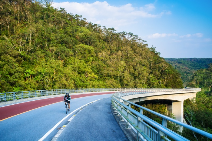 Bicyclist on Highway 18 in northern Okinawa.