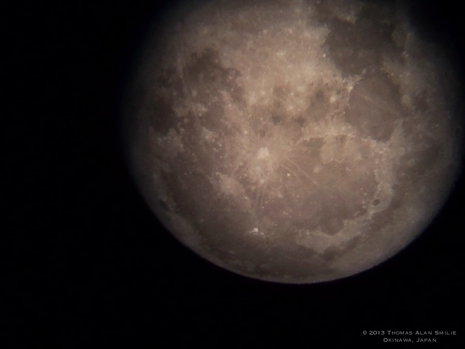 Moonrise in Okinawa Japan. iPhone 5s and Telescope.