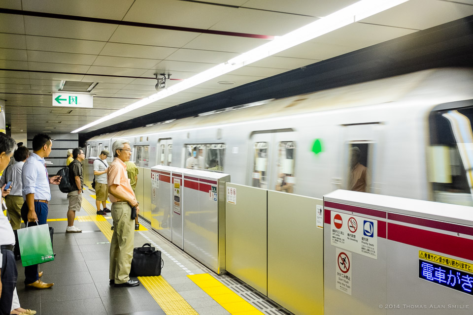 Tokyo 2014. Barriers between the train and platform didn't exist back in the 80's. Fuji x100s