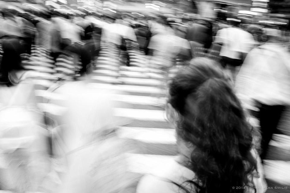 My daughter at Shibuya Crossing, Tokyo 2014.