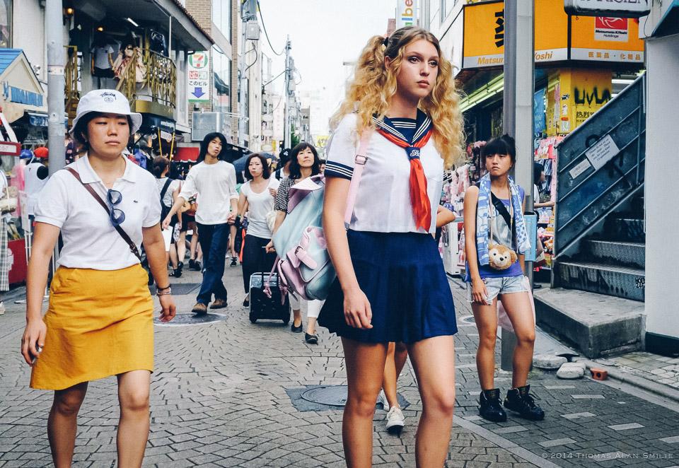 Takeshita Street in Harajuku, Tokyo. Fuji x100s