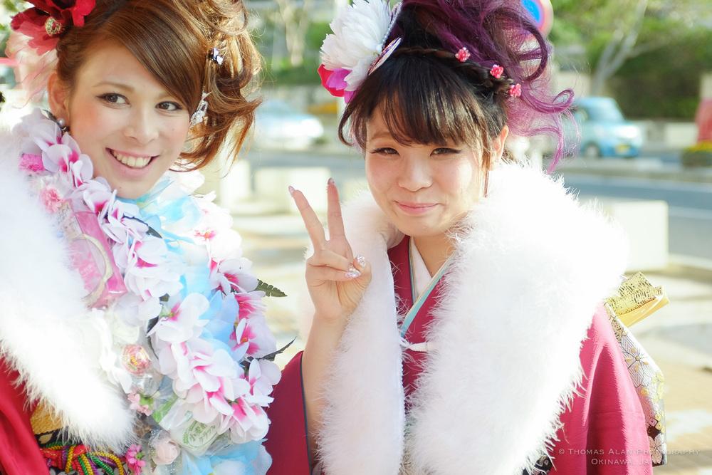 Young girls wearing furisode (kimono) in Naha for Seijin no Hi, Coming of Age Day. 2015. Fuji x100s w/ TCL-X100.