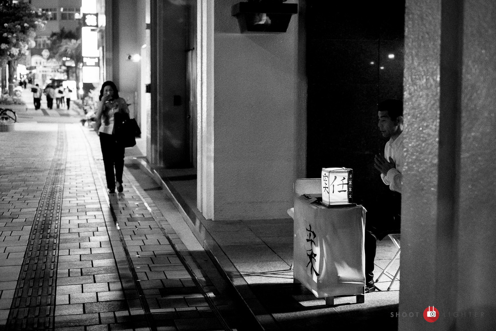 Naha, Okinawa - Fuji X-Pro1, 35mm f/1.4 @ f/2, ISO 6400, 1/50 sec. Edited in Lightroom and Silver Efex Pro 2.
