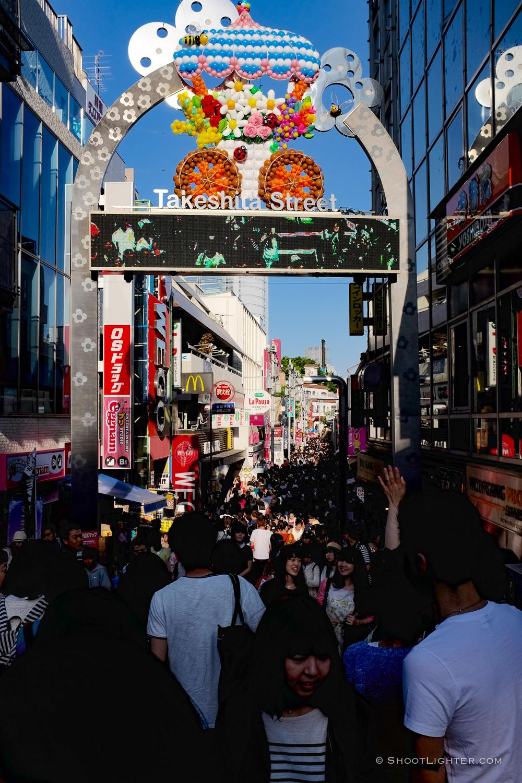 The famous Takeshita Dori in Harajuku. Taken with my Fuji x100t.