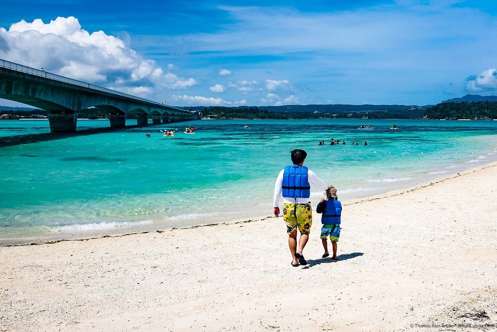 Father and Son at Kouri Island Beach, Okinawa, Japan. Fujifilm x100t, f/8.0, 1/200 sec, ISO 200. Edited in Lightroom.