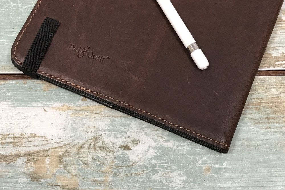 "Pad & Quill Oxford Leather Case for the iPad Pro 9.7"" with the Apple Pencil."