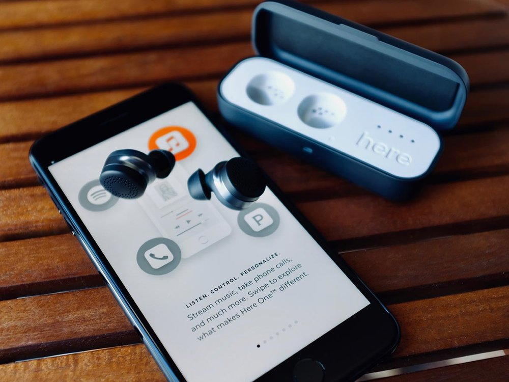 Here One Earbuds from Doppler Labs with an iPhone 7 Plus.