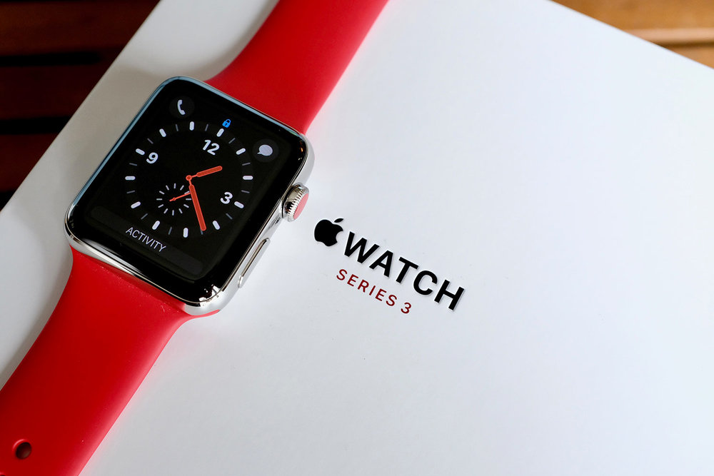 Apple Watch Series 3 w/ LTE and the Apple Red Sport Band.