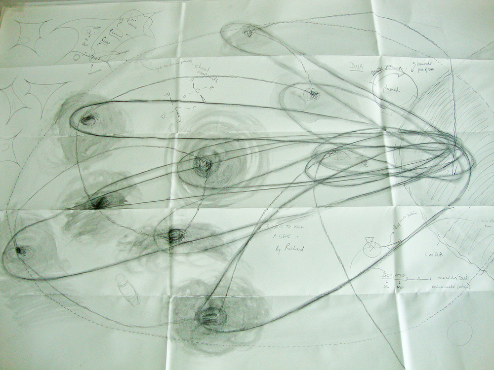 Art & Science lab: Raewyn Turner and Richard Newcomb. Dialogue through drawings and diagram.
