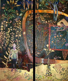 A History of the Gardeners movements  Diptych oil, tar, gold pastel  on linen 2004