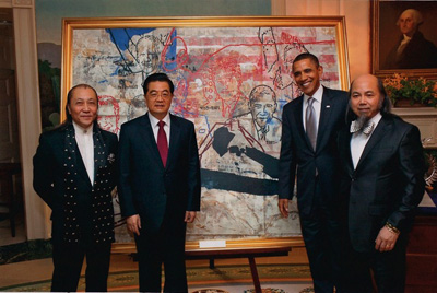 Zhou Brothers with Chinese President Hu Jintao and US President Barack Obama.