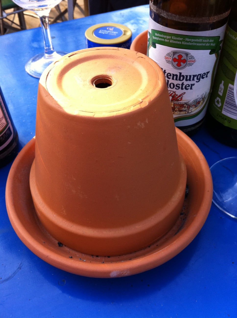 An inverted Flower pot and it's saucer makes a great ashtray because it hides the ugly contents and controls smoke flow, smell and ash particles. Cheap and commonly used, a great adaptation.