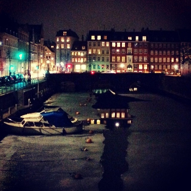 #stormbroen canal is partially melted and has candy colored #reflection - #nighttime #copenhagen