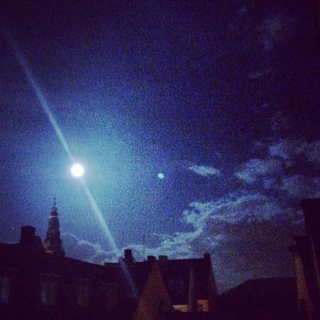#moon over #copenhagen #rooftops