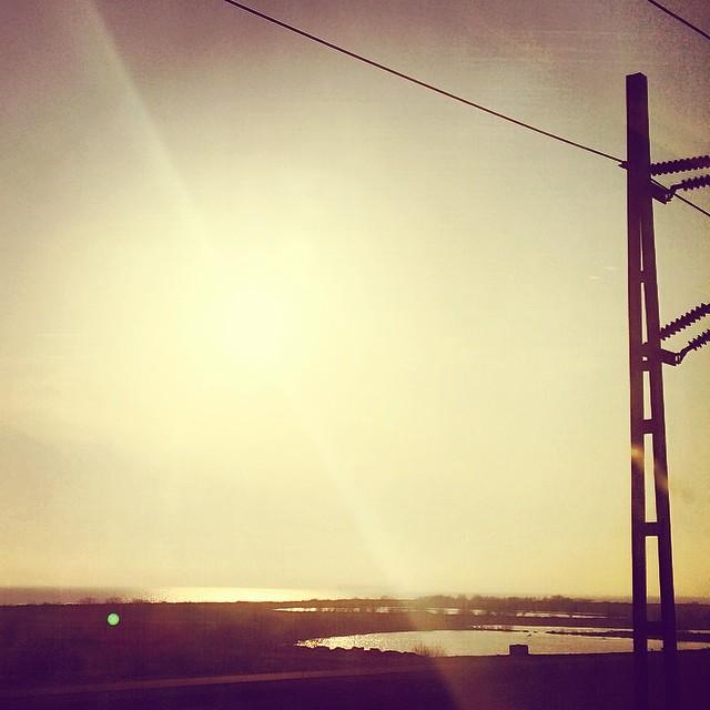 The view towards #copenhagen this evening #goldenlight #øresund #bridge #picsfromthetrain
