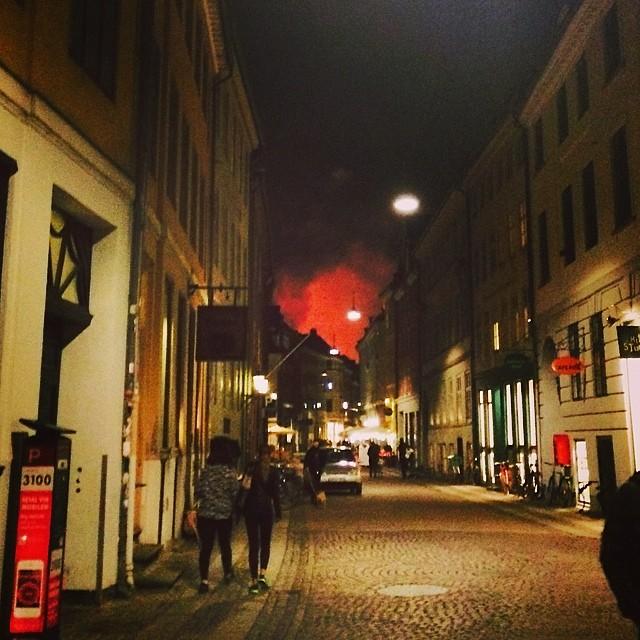 #tivoli #firework #smoke in the distance on #Kompagnistræde #copenhagen
