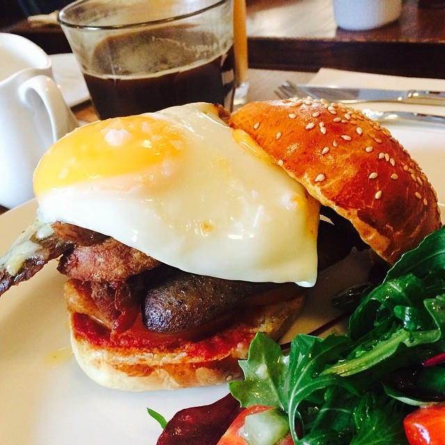 Breakfast of champions - egg, veal, bacon and sausage on a brioche bap - #yummy #unioncafe #copenhagen