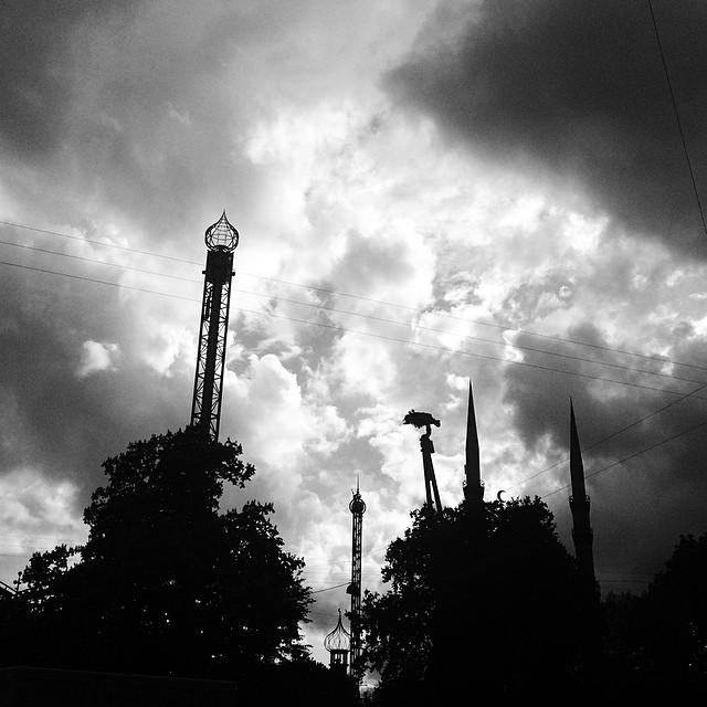 #silhouettes of #tivoli #copenhagen - #clouds #blackandwhite #drama #vscocam
