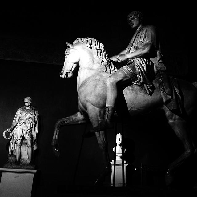 nighttime at the museum - #Thorvaldsenmuseum #copenhagen #blackandwhite #sculpture #art #classical #vscocam