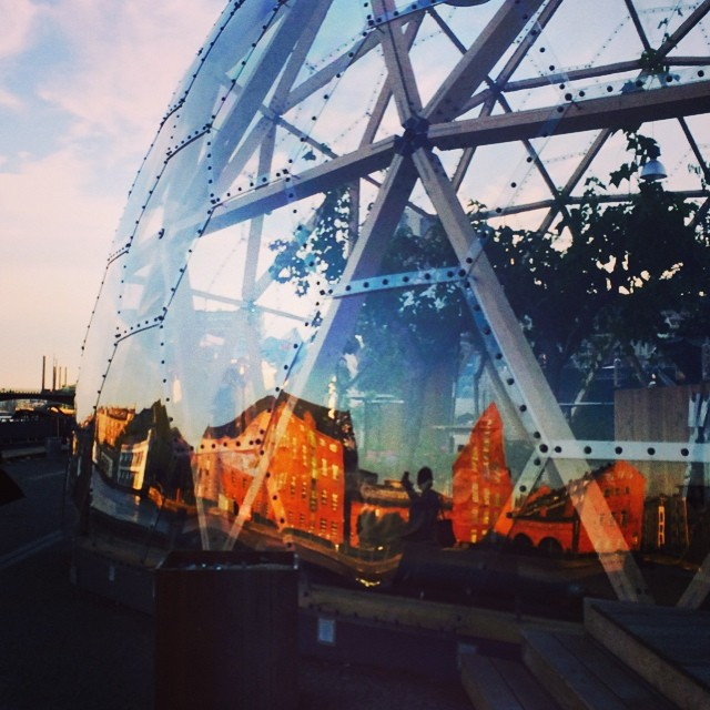 #geodesicdome and #reflections of #christianshavn on the #docks #copenhagen