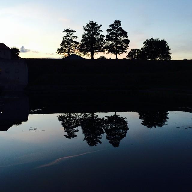 Last of the evening #light over #kastellet #copenhagen - #reflections #silhouette #trees #water #sunset