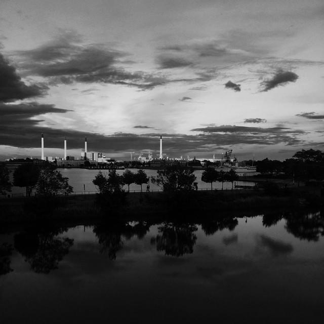 #copenhagen #docks #powerstation #clouds #reflections #blackandwhite #vscocam