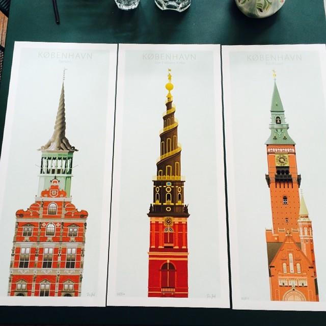 Lovely illustrations of #copenhagen #spires - makes me think of #monumentvalley