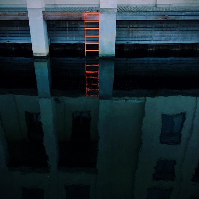 Lumo #ladder - very inviting deep #blue water of a hot day in #copenhagen - #docks #orange #reflections
