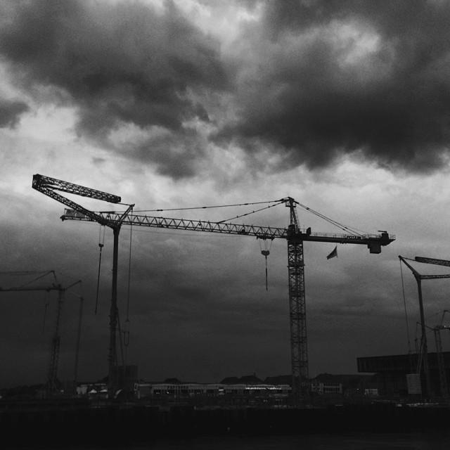 #copenhagen #dockside under #construction - #sky #clouds #blackandwhite #vscocam #vscogod