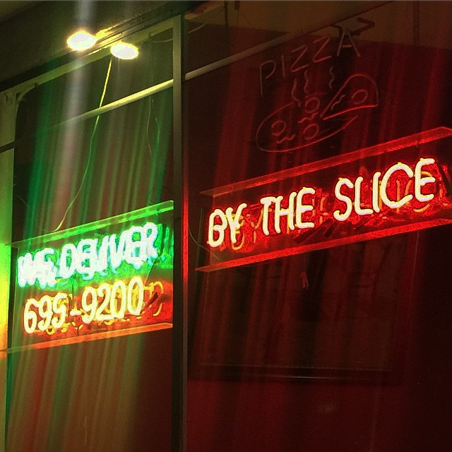 """""""we deliver by the slice"""" - surely that can't be very efficient - #pizza #sign #typography #funny"""