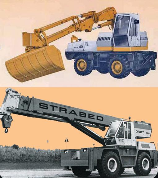 Voici deux machines du constructeur américain Drott (J I Case): une pelle hydraulique et une grue télescopique. Mis à part les fonctions différentes, elles ont toutes les deux le même châssis et la même cabine. Mais encore toutes les deux étaient équipées d'une traction intégrale sur les quatre roues, d'un convertisseur de couple, des freins à air, etc. En plus, elles pouvaient se déplacer sur autoroutes. Construction : début des années 70.     © Bull BTP