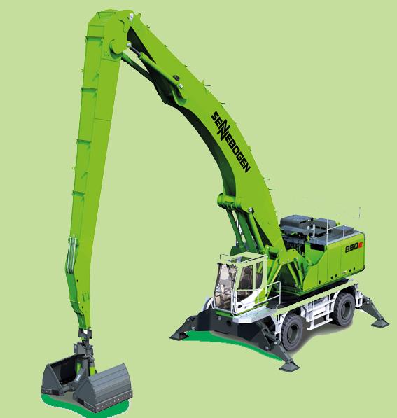 SMT (ex VCM Belgium), propose la pelle de manutention industrielle Sennebogen Green Hybrid.     Elle bénéficie d'un système innovant de recyclage d'énergie (vérin monté entre les deux vérins de levage qui stocke l'énergie générée par l'abaissement de la flèche dans les vérins à gaz comprimé situés à l'arrière de la machine ; lors du levage suivant, cette énergie accumulée est à nouveau disponible). Ce système permet d'économiser jusqu'à 30% d'énergie.   Contrairement aux systèmes conventionnels, qui doivent composer avec le volume de gaz d'un cylindre, l'accumulateur hydropneumatique hybride de la 850 M-E dispose d'un volume plus important.     Recogeno