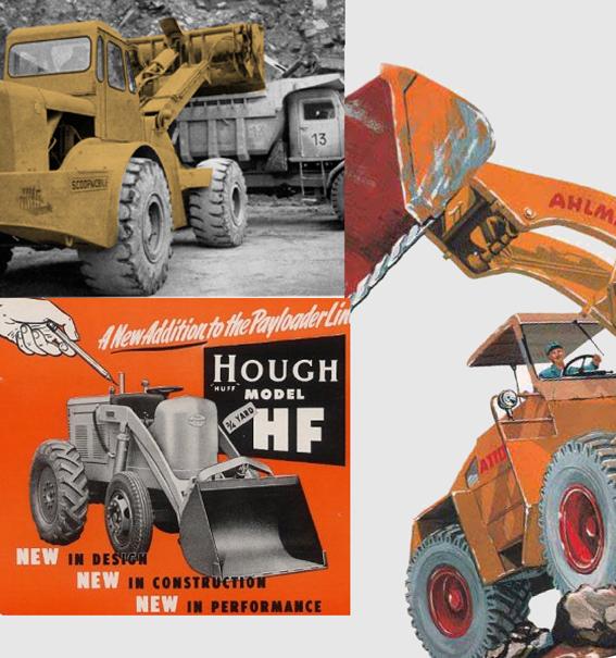 La première chargeuse sur pneus à deux roues motrices a vu le jour en 1939 grâce à Frank G. Hough .  Les premières chargeuses mises sur le marché étaient des engins à châssis rigides qui limitaient leur mobilité due au grand rayon de braquage ce qui les entrainait à des manoeuvres qui leur posaient des problèmes pour travailler dans des endroits exigus. De plus, la position du pivot du bras de chargement était positionnée derrière l'opérateur ce qui causa de nombreux accidents, parfois très graves. C'est alors que Hough a repositionné le bras de levage et les vérins complètement en avant du poste de commande. D'autres constructeurs prirent la suite de Hough en adoptant le même principe : Caterpillar, Case, Allis-Chalmers et Michigan. C'est à partir des années 60 qu'apparurent les premières chargeuses articulées. Le bâti articulé facilite la conduite de la chargeuse quand la place fait défaut et donne une grande précision au déversement ce qui est très avantageux quand il s'agit de charger un camion. D'autre part, l'articulation du châssis permet un empattement important. À noter qu'à cette époque très peu de chargeuses étaient équipées d'une cabine. L'idée de la chargeuse articulée est due au constructeur Américain Mixermobile Manufacturers avec l'introduction, en 1953, de son Scoopmobile .Courant années 50, les constructeurs Ahlmann, Schwing, Pettibone - PMCO et Mandt offraient déjà des chargeuses à bras pivotants à 180°. En 1977 le constructeur américain Dart proposa la plus grande chargeuse au monde sur pneus de 72 tonnes avec des capacités de godets de 8 à 20m3 !   ©Bull BTP