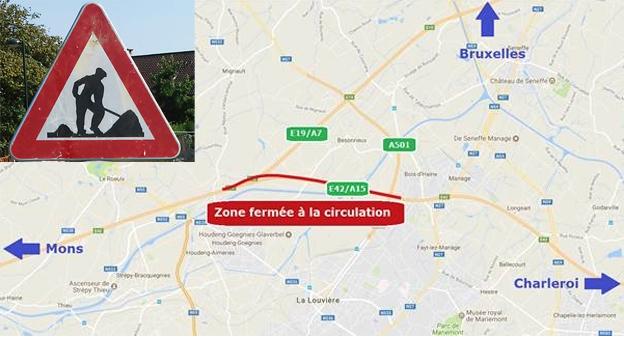 À partir du samedi 31 mars, 12h ,    l'autoroute E42/A15 sera fermée   pendant 9 jours à hauteur de La Louvière, sur environ 3,5 kilomètres, et ce ,  uniquement en direction de Mons.     L'autoroute sera fermée à l'échangeur de Bois-d'Haine sur l'E42/A15 (échangeur de La Louvière), jusqu' à l'intersection E42/A15-E19/A7. L'accès n°20 Houdeng   de l'E42/A15, vers Mons, sera également   fermé. Cette fermeture exceptionnelle s'effectue pendant les vacances de Pâques, période pendant laquelle le trafic est plus calme. Ce chantier débutera à la mi-journée le 31 mars pour interférer le moins possible avec les départs des vacances de Pâques. Travailler   sans fermer l'autoroute, sur cette portion   qui présente deux bandes de circulation, s'avérait impossible puisque cette méthode aurait considérablement allongé la durée du chantier alors que les réparations présentent un degré d'urgence certain. Cela aurait, par ailleurs, affecté plus lourdement la mobilité.     Tous les moyens seront mis en œuvre pour rouvrir l'autoroute la nuit du dimanche 8 avril au lundi 9 avril. A cette fin des équipes travailleront de jour, de   nuit, ainsi que le week-end. Ces travaux permettront de réhabiliter le revêtement de ce tronçon.   Plus de 10.000 tonnes d'asphalte seront enlevées. Par après un nouveau tapis sera posé pour la réhabilitation de ce tronçon, ainsi que 1.000 tonnes supplémentaires dans le cadre du travail effectué sur les fondations.   La structure   de l'autoroute présente   également de nombreuses et   importantes dégradations de sa fondation (nids de poule causés entre autres par le gel, les pluies et la circulation) et qui seront traitées pendant cette fermeture. Deux déviations seront mises en place via l'A501 et l'autoroute E19/A7. En provenance de Charleroi, les automobilistes se dirigeant vers Mons devront quitter l'autoroute à la sortie n°2 Bois d'Haine, pour emprunter l'A501. À partir de là, des panneaux de signalisation seront mis en place afin de renseigner aux mie