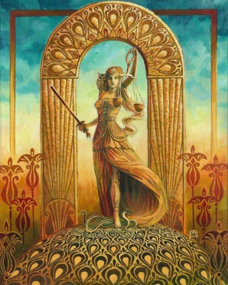 ART BY EMILY BALIVET, JUSTICE TAROT